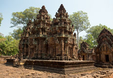 Banteay Srei towers. Temple built by women Royalty Free Stock Photography