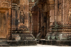 Banteay Srei walls. With carving Stock Photos