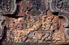 Banteay Srey寺庙在吴哥地区,柬埔寨 免版税库存照片