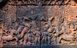 Banteay Srey寺庙,柬埔寨 免版税库存图片