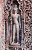 Banteay Srey寺庙,柬埔寨 免版税库存照片