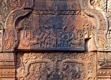 Banteay Srey寺庙,柬埔寨 免版税图库摄影