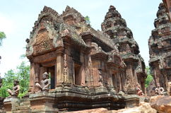 Banteay srey. Ankor wat style temple built in the second half of the 12th century in cambodia siem reap ankorian period royalty free stock photography