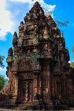 Banteay Srey寺庙的,柬埔寨唯一内在封入物 库存照片