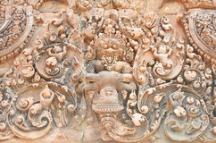 Banteay srey cravings. Ankor wat style temple built in the second half of the 12th century in cambodia siem reap ankorian period stock images