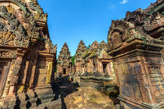 Banteay Srey. The hinduistic Banteay Srey Temple at the Angkor Wat area dates back to the 10th century and is dedicated to Shiva Stock Image