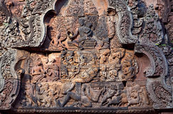 Banteay Srey Temple, Cambodia. Ancient relief at the facade of Banteay Srey Temple in Angkor Area, Cambodia. Banteay Srey is a 10th century Cambodian temple Royalty Free Stock Photo