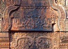 Banteay Srey Temple, Cambodia. Relief at the facade of Banteay Srey Temple in Angkor Area, Cambodia. Banteay Srey is a 10th century Cambodian temple dedicated to Royalty Free Stock Photography