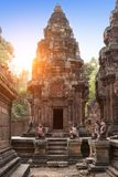 Banteay Srey Temple ruins Xth Century  on a sunset, Siem Reap, Cambodia. Banteay Srey Temple ruins Xth Century on a sunset, Siem Reap, Cambodia Stock Photography