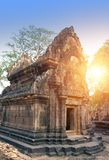 Banteay Srey Temple ruins Xth Century  on a sunset, Siem Reap, Cambodia. Banteay Srey Temple ruins Xth Century on a sunset, Siem Reap, Cambodia Royalty Free Stock Photo