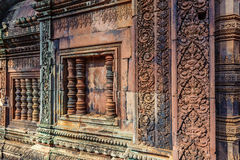 Banteay Srey. The window of the hinduistic Banteay Srey Temple at the Angkor Wat area dates back to the 10th century and is dedicated to Shiva Royalty Free Stock Photography