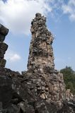 Damaged tower at the Banteay Top temple. Banteay Top or Fortress of the Army, is a small temple with tall, damaged towers. Believed to be a tribute to the army Stock Images