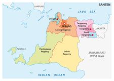 Banten administrative and political vector map, Indonesia.  stock illustration