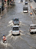 BANThai flood hits Central of Thailand, higher water levels expected, during the worst flooding Royalty Free Stock Photo
