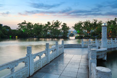 Banyan lake at dusk Royalty Free Stock Photography