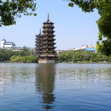 Banyan lake pagodas Stock Photo