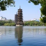Banyan lake pagodas Stock Photo