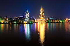 Banyan lake pagodas at night Stock Photography