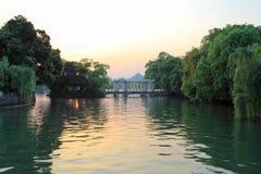 Banyan lake in sunset Royalty Free Stock Photos
