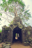 Banyan tree over the door from Ta Som. Angkor Wat. Silhouette of a young girl kissing an old banyan tree over the stone door from Ta Som temple. Angkor Wat Royalty Free Stock Photography