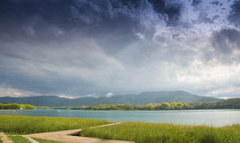 Banyoles lake under stormy clouds Royalty Free Stock Photos