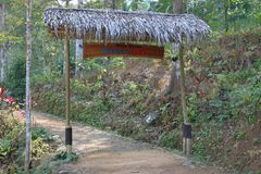 Banyu Nget, Trenggalek, East Java, Indonesia. Tourist destination in Trenggalek, East Java, Indonesia. Entrance to Banyu Nget or `warm water` is a managed semi royalty free stock image