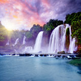 Banyue waterfall. Banyue or Ban Gioc waterfall along Vietnamese and Chinese board