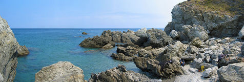 banyuls cerbere海洋全景预留 免版税库存图片