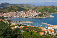 Banyuls-sur-Mer coastal town in south of France. Aerial view of Banyuls-sur-Mer, coastal town in the south of France, Mediterranean sea, Roussillon, Pyrenees Royalty Free Stock Image