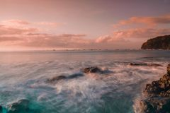 Banyuwangi van de zonsopgang grajagan baai stock foto's