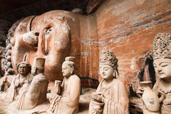 Bao Ding Mountain Circle of Life. The Dazu Rock Carvings (Chinese: 大足石刻; pinyin: Dàzú Shíkè) are a series of Chinese religious sculptures and royalty free stock images