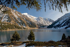 BAO with firs. Big Almaty lake in the mountains Stock Images