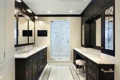 Baño principal con cabinetry negro Fotos de archivo libres de regalías