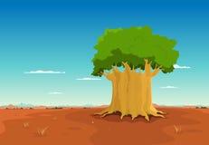 Baobab binnen Afrikaanse Woestijn Royalty-vrije Stock Fotografie