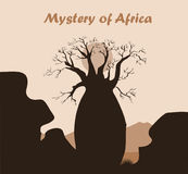 Baobab tree landscape with rock and mountains. Baobab silhouette. African mystery background Royalty Free Stock Images