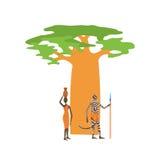 Baobabboom op witte vectorillustratie Royalty-vrije Stock Afbeelding