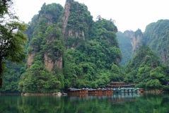 Baofeng lake in Zhangjiajie. View of Baofeng lake from the boat, with mountains of Zhangjiajie. China Stock Photography