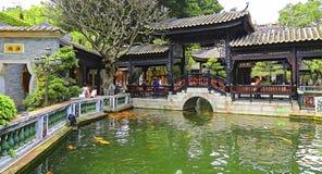 Baomo garden koi pond and pagoda with walkway Royalty Free Stock Photography