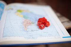 Baord game dice and map. South America map with red special dice for war role playing game Royalty Free Stock Photo