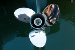 Baot propeller installed on the engine Royalty Free Stock Images