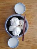 Baozi и молоко сои Стоковые Изображения RF