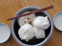 Baozi and soybean milk. Baozi,Chinese characteristics of the steamed stuffed bun Stock Photography