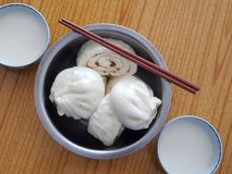 Baozi and soybean milk. Baozi,Chinese characteristics of the steamed stuffed bun Royalty Free Stock Photos