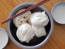 Baozi and soybean milk. Baozi,Chinese characteristics of the steamed stuffed bun Royalty Free Stock Images