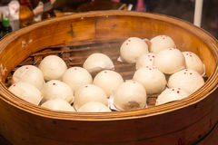 Baozi, Chinese Steamed Buns. Baozi, Chinese Steamed Buns Recipe in hot steam basket Royalty Free Stock Photography