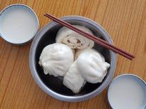 Baozi and soybean milk. Baozi,soybean milk Chinese characteristics of the steamed stuffed bun Stock Image