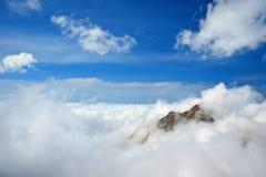 BAP in clouds. Big Almaty peak in clouds Royalty Free Stock Photo