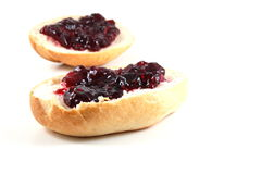 Bap with jam Stock Photography