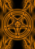 Baphomet Symbol. Uses on Satanism and Diabolism in orange and black colors Royalty Free Stock Photo