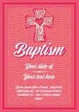 Baptême de chrétien de carte postale Certificat de félicitation d'invitation illustration stock